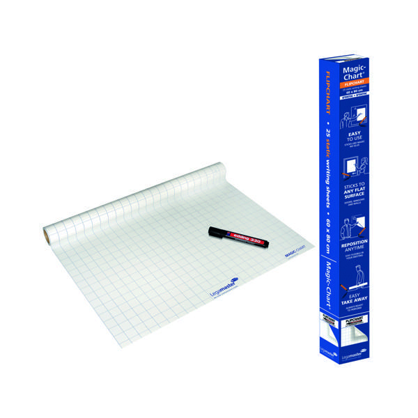 Pads Legamaster Magic Chart Gridded Roll White 600x800mm 1590-00