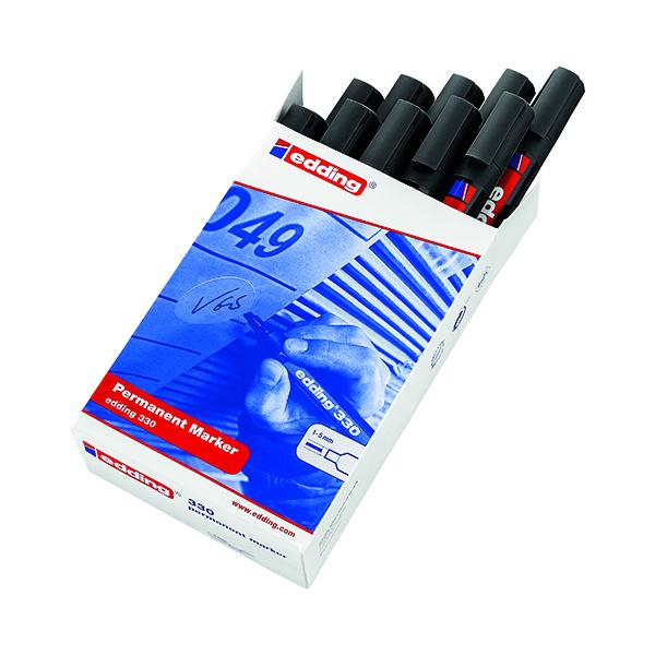Edding 330 Permanent Chisel Tip Marker Black (10 Pack) 330-001