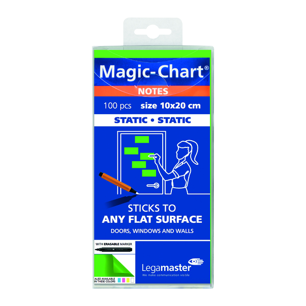 Pads Legamaster Magic Notes 200x100mm Green with Pen (100 Pack) 7-159404
