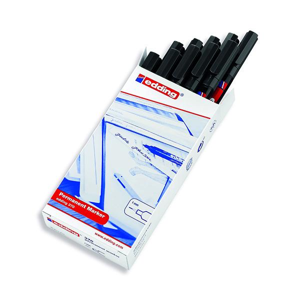 Bullet Tip Edding 370 Permanent Marker Fine Black (10 Pack) 370-001