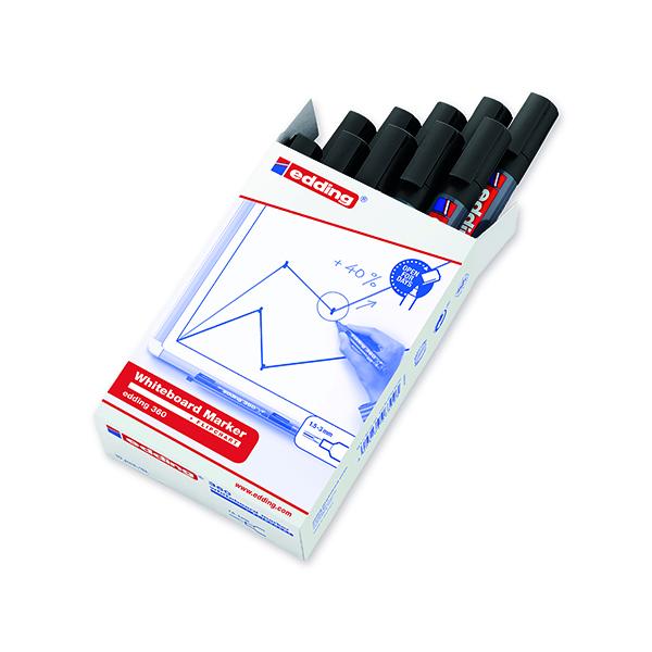 Edding 360 Drywipe Marker Black (10 Pack) 4-360001