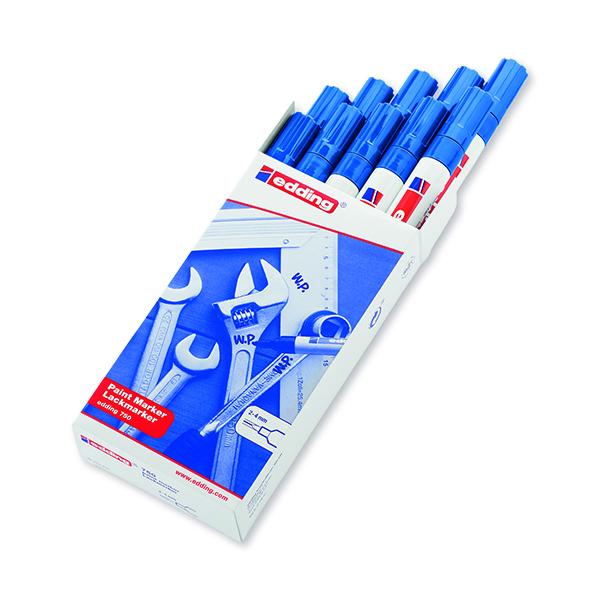 Bullet Tip Edding 750 Bullet Tip Paint Marker Medium Blue (10 Pack) 750-003