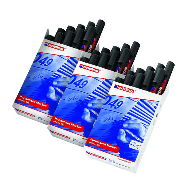 Edding 330 Permanent Chisel Tip Marker Black 3For2 ED810666