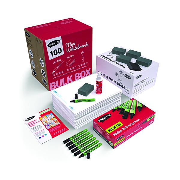 Show-me Whiteboard A4 Plain (100 Pack) B/SMB