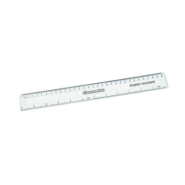 16-30cm Classmaster Shatter Resistant Ruler 30cm White (100 Pack) SPR30WH/100