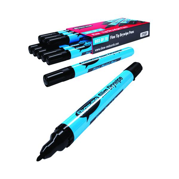 Show-me Drywipe Marker Fine Tip Black (10 Pack) FPSDP