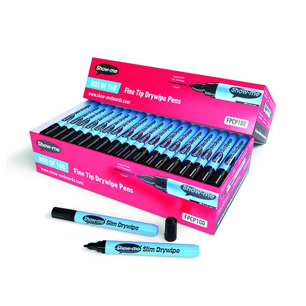 Show-me Drywipe Marker Fine Tip Black (100 Pack) FPCP100