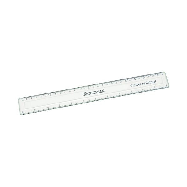 Classmaster Shatter Resistant Ruler 30cm Clear (100 Pack) SPR30100