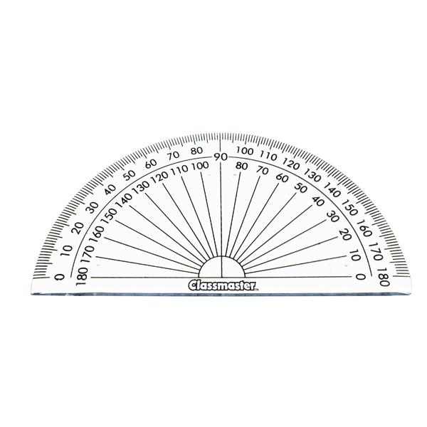 Geometry, etc Classmaster 180 Degree Protractor Clear (10 Pack) 899595