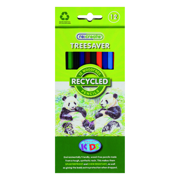 Coloured ReCreate Treesaver Recycled Colouring Pencils (12 Pack) TREE12COL