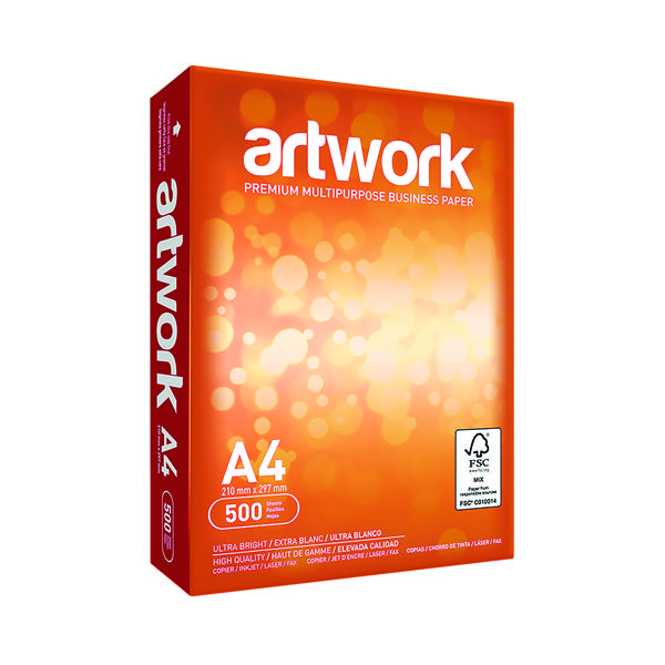 Less than 80gsm White/Colour Artwork A4 White Paper 75gsm 5xReams (2500 Pack) EH00432