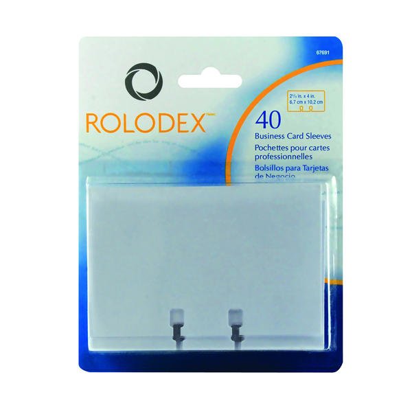Card Index Storage Rolodex Business Card Sleeves Clear (40 Pack) S0793540