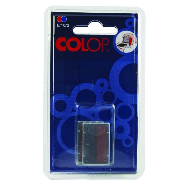 COLOP E/10/2 Replacement Ink Pad Blue/Red (2 Pack) E/10/2