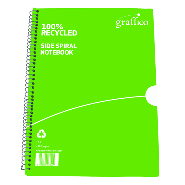 A4 Graffico Recycled Wirebound Notebook 100 Pages A4 (10 Pack) 9100035