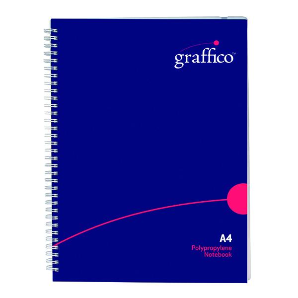 A4 Graffico Polypropylene Wirebound Notebook 140 Pages A4 500-0504