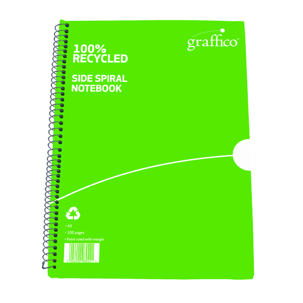 A5 Graffico Recycled Spiral Bound Notebook 100 Pages A5 (10 Pack) 5000335