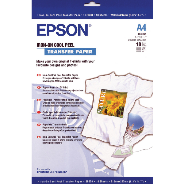 A4 Epson Cool Peel Iron-On Transfer Paper (10 Pack) C13S041154