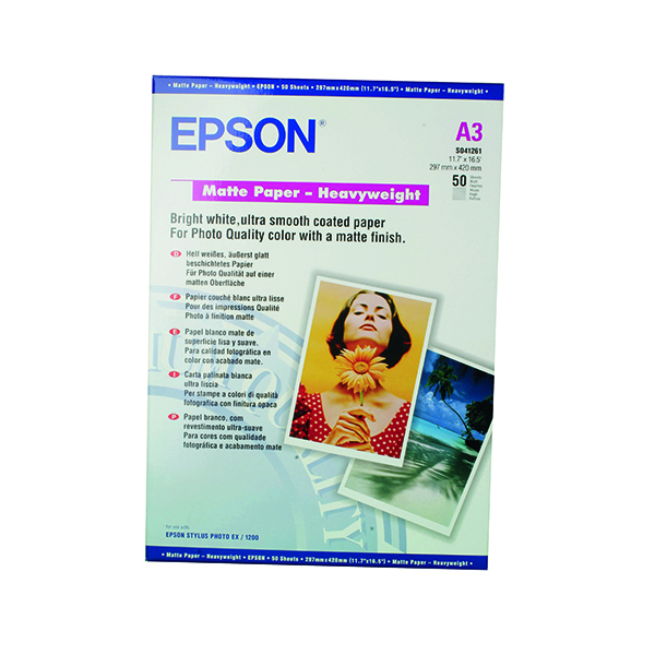 Epson A3 Matte Heavyweight 167gsm Photo Paper (50 Pack) C13S041261