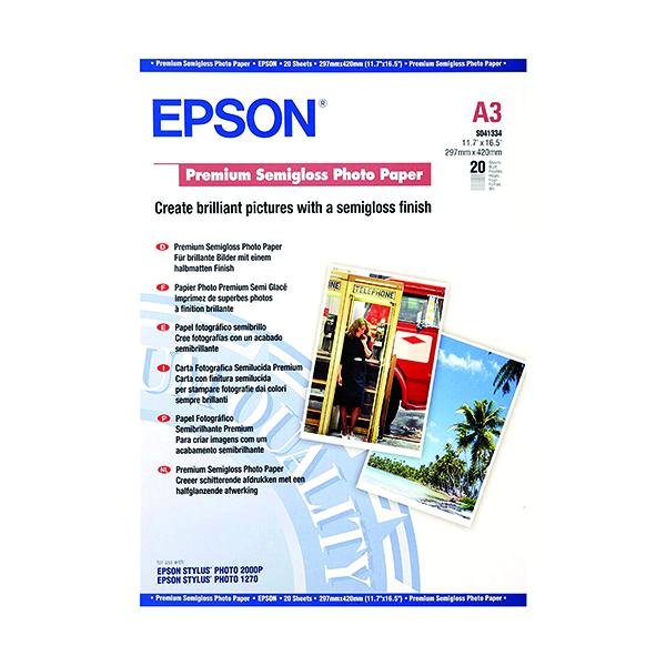 Epson A3 Premium Semi-Gloss Photo Paper (20 Pack) C13S041334