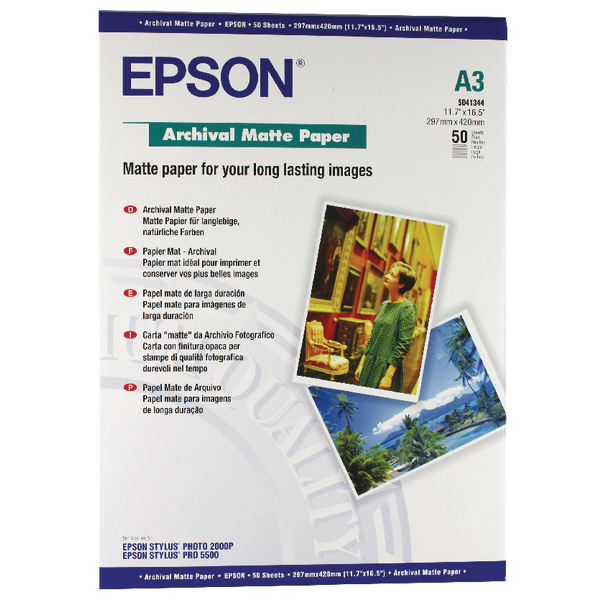 Other Size Epson Matte A3 Archival Paper 192gsm (50 Pack) C13S041344