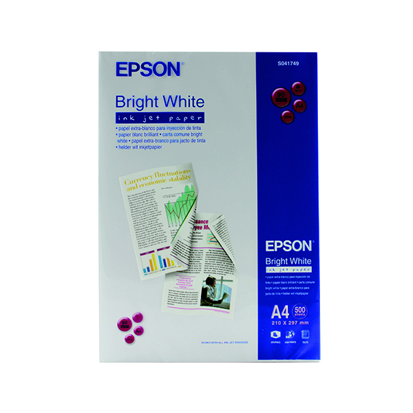 White 90gsm Epson A4 Inkjet Paper 90gsm Bright White Ream (500 Pack) S041749 C13S041749