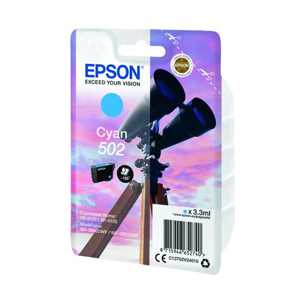 Inkjet Cartridges Epson Singlepack 502 Ink Cyan C13T02V24010