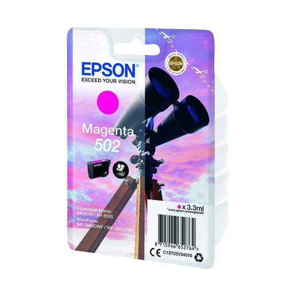Inkjet Cartridges Epson Singlepack 502 Ink Magenta C13T02V34010
