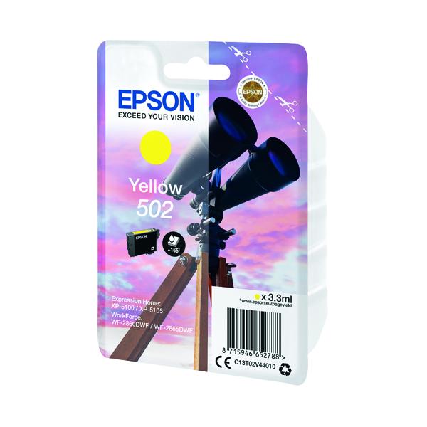 Inkjet Cartridges Epson Singlepack 502 Ink Yellow C13T02V44010