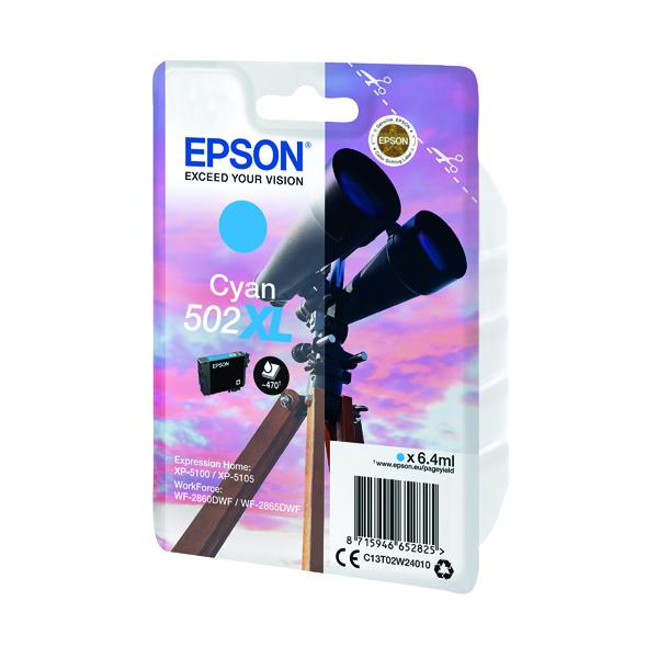 Inkjet Cartridges Epson Singlepack 502XL Ink Cyan C13T02W24010