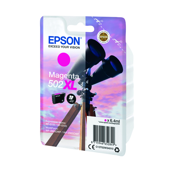 Inkjet Cartridges Epson Singlepack 502XL Ink Magenta C13T02W34010