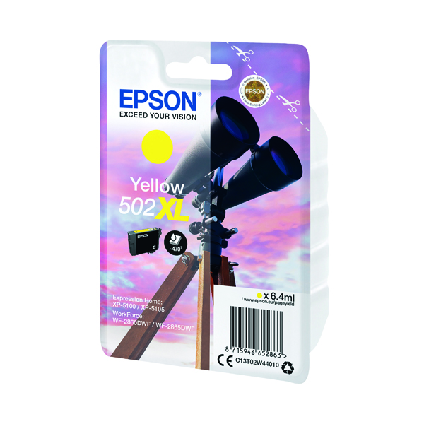 Inkjet Cartridges Epson Singlepack 502XL Ink Yellow C13T02W44010