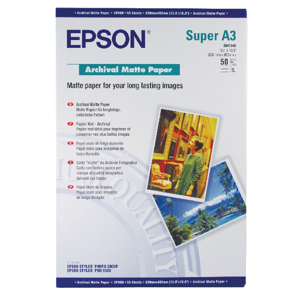 Other Size Epson A3 Plus Matte Archival Paper 192gsm (50 Pack) C13S041340