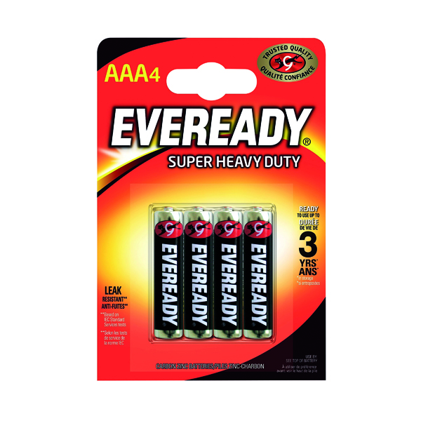 AAA Eveready Super Heavy Duty AAA Batteries (4 Pack) RO3B4UP