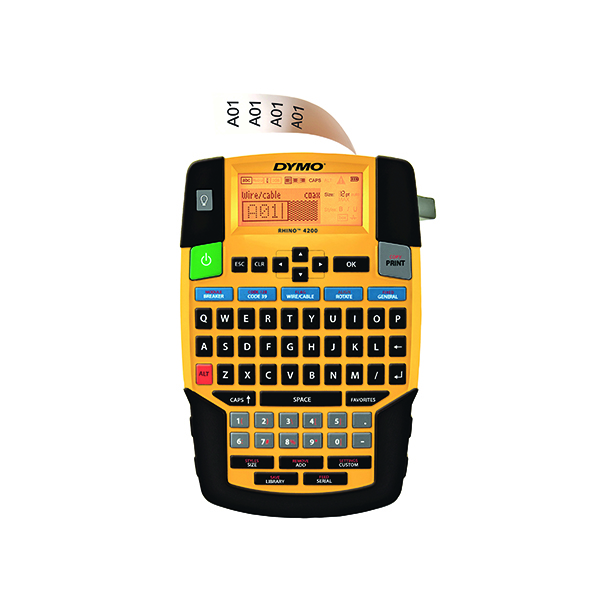 Labelling Machines Dymo Rhino 4200 Label Maker QWERTY 19mm Yellow PB1 UK 1801611