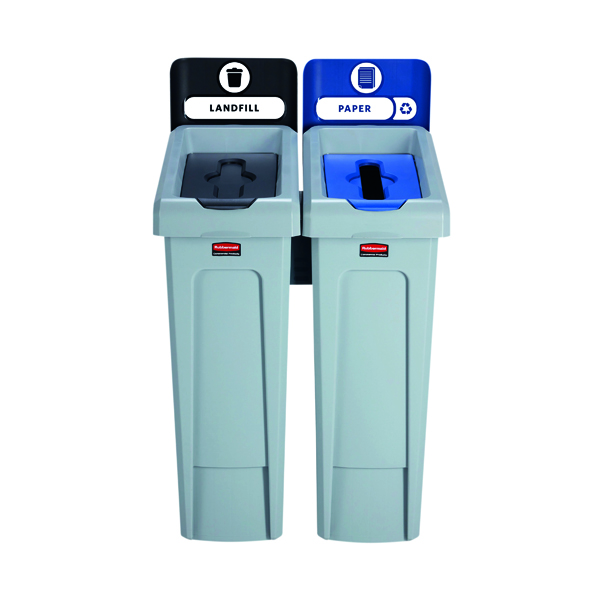 Rubbermaid Slim Jim 2 Stream Paper and Landfill Recycling Station Black/Blue 2057605