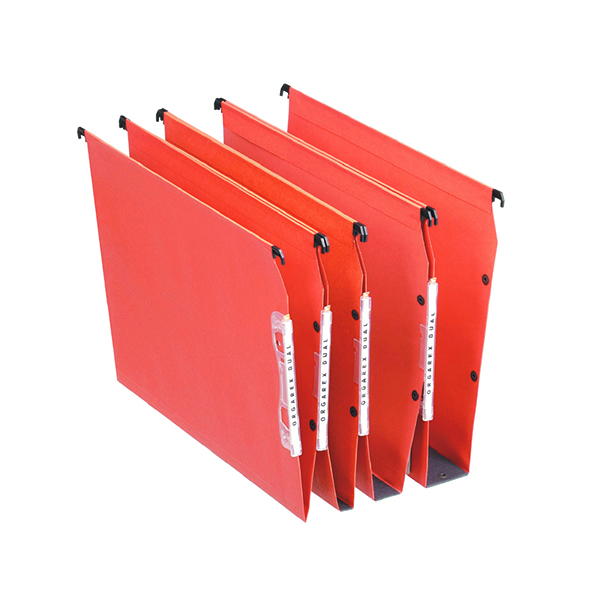 Lateral File Esselte Orgarex 15mm Lateral File V-Bottom A4 Orange (25 Pack) 21627
