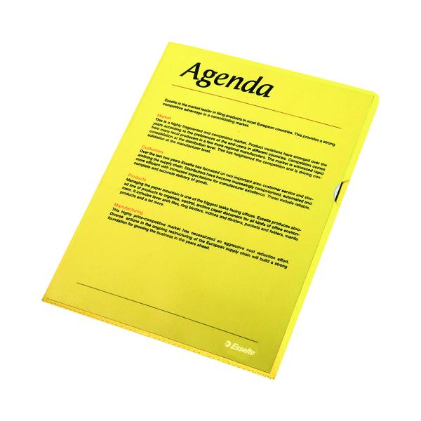 A4 Esselte Cut Flush Folder Polypropylene A4 Yellow (100 Pack) 54842