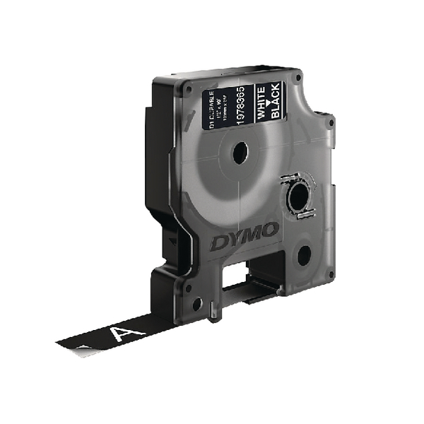 Dymo D1 Labelling Tape White on Black 12mm x 3m 1978365