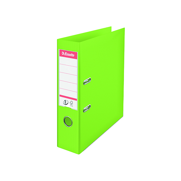 Esselte 75mm Lever Arch File Polypropylene A4 Green (10 Pack) 624069