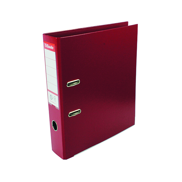 Esselte 75mm Lever Arch File Polypropylene A4 Burgundy (10 Pack) 48069