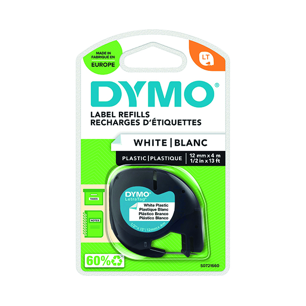 Labelling Tapes & Labels Dymo Letratag Plastic Tape 12mmx4m White PRL S0721660