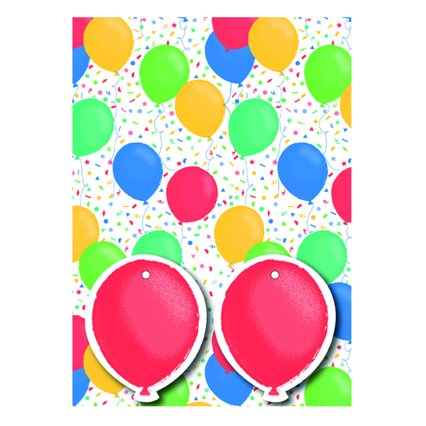 Paper Colourful Balloons Gift Wrap and Tags (12 Pack) 27246-2S2T
