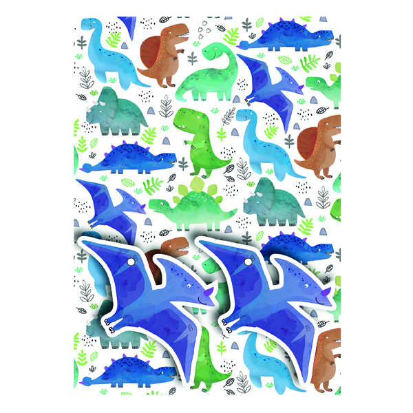 Paper Dinosaurs Gift Wrap and Tags (12 Pack) 27234-2S2T