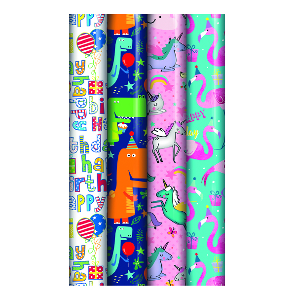 Assorted Kids Gift Wrap (39 Pack) 27174-GW