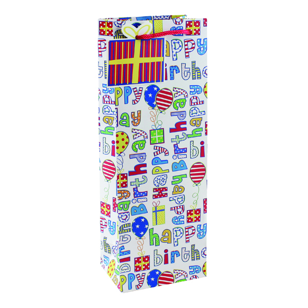 Paper Happy Birthday Bottle Bag (6 Pack) 26955-4