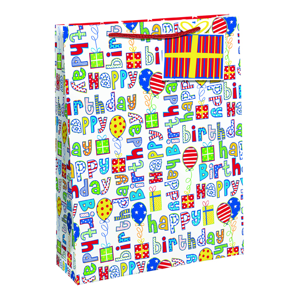 Paper Happy Birthday Gift Bag Large (6 Pack) 26955-2