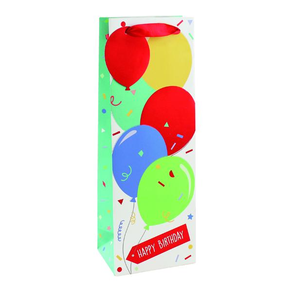Paper Happy Birthday Balloon Bottle Bag (6 Pack) 26952-4