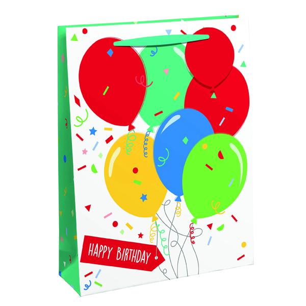 Paper Happy Birthday Balloon Gift Bag Medium (6 Pack) 26952-3