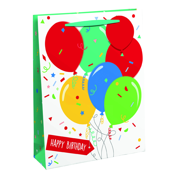 Paper Happy Birthday Balloon Gift Bag Large (6 Pack) 26952-2