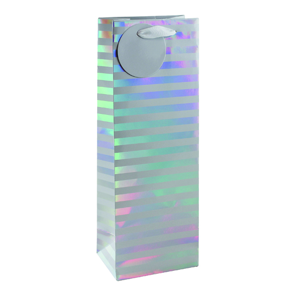 Paper Striped Bottle Bag White/Silver (6 Pack) 26658-4
